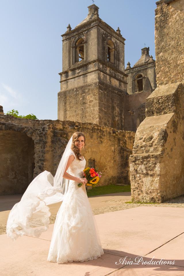 Mission Concepción bell tower bridal portrait
