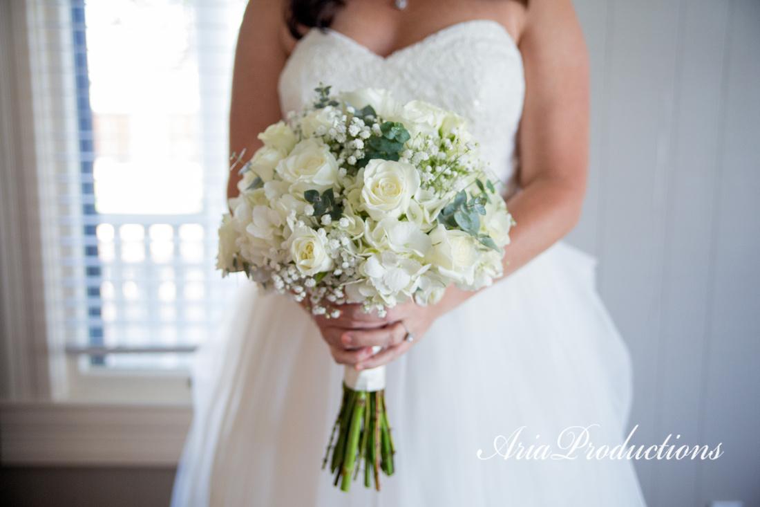 Fresh white bridal bouquet